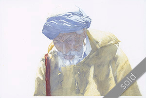 Watercolour painting Blue-Turban