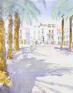 Watercolour painting Plaza Grande, Zafra